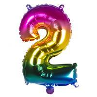 Boland folieballon cijfer 2 latex helium regenboog 36 cm