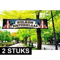 Shoppartners 2x Sinterklaas PVC spandoek 200 x 50 cm Multi
