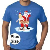 Bellatio Grote maten fout Kerst t-shirt best Christmas party blauw heren Blauw