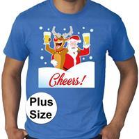 Bellatio Grote maten fout Kerst shirt Dronken kerstman blauw heren Blauw