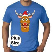 Bellatio Grote maten fout Kerst shirt Rudolf het rendier blauw heren Blauw