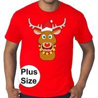 Bellatio Grote maten fout Kerst shirt Rudolf het rendier rood heren Rood