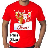 Bellatio Grote maten fout Kerst shirt Dronken kerstman rood heren Rood