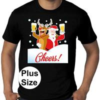 Bellatio Grote maten fout Kerst shirt Dronken kerstman zwart heren Rood