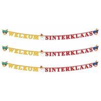 Folat 3x Letterslinger welkom Sinterklaas 230 cm Multi