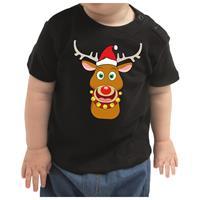 Bellatio Kerstshirt Rudolf het rendier zwart baby jongen/meisje 80 (7-12 maanden) Zwart