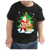 Bellatio Kerstshirt Merry Christmas kerstman/rendier zwart baby jongen/me 74 (5-9 maanden) Zwart