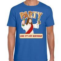 Bellatio Fout kerst t-shirt blauw met party Jezus voor heren
