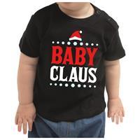 Bellatio Kerstshirt Baby Claus zwart peuter jongen/meisje (9-18 maanden) Zwart