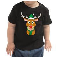 Bellatio Kerstshirt Rufolf rendier zwart peuter jongen/meisje (9-18 maanden) Zwart