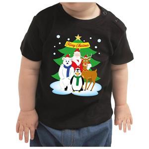 Bellatio Kerstshirt Santa en dierenvriendjes zwart peuter jongen/meisje (13-36 maanden) Zwart
