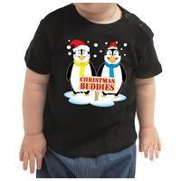 Bellatio Kerstshirt Christmas buddies zwart peuter jongen/meisje (9-18 maanden) Zwart