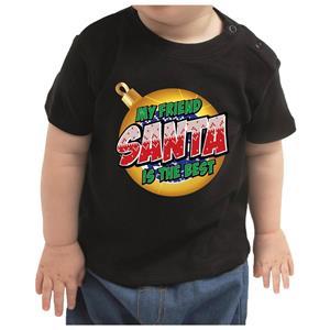 Bellatio Kerstshirt Santa / Rudolf het rendier zwart peuter jongen/meisje 92 (11-24 maanden) Zwart