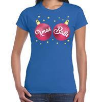 Bellatio Fout kerst t-shirt blauw met roze Xmas balls voor dames