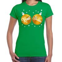 Bellatio Fout kerst t-shirt groen met gouden kerst ballen voor dames
