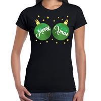Bellatio Fout kerst t-shirt zwart met groene merry Xmas ballen voor dames