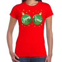 Bellatio Fout kerst t-shirt rood met groene merry Xmas ballen voor dames
