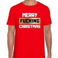 Bellatio Fout Kerstshirt merry fucking christmas rood voor heren