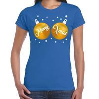 Bellatio Fout kerst t-shirt blauw met gouden merry Xmas ballen voor dames
