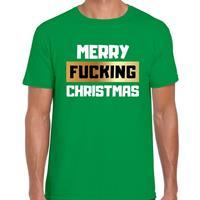 Bellatio Fout Kerstshirt merry fucking christmas groen voor heren