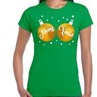 Bellatio Fout kerst t-shirt groen met gouden merry Xmas ballen voor dames