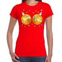 Bellatio Fout kerst t-shirt rood met gouden merry Xmas ballen voor dames