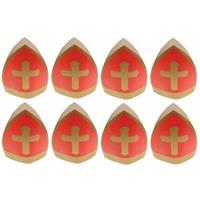 8x Sinterklaas kinder mijter van karton Rood