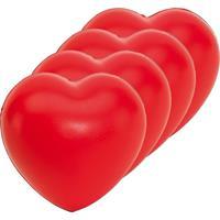 Bellatio 4x Stressballen rood hartjes vorm 8 x 7 cm Rood
