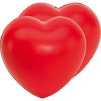 Bellatio 2x Stressballen rood hartjes vorm 8 x 7 cm Rood