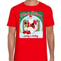 Bellatio Fout kerst t-shirt merry shitmas turkey rood voor heren