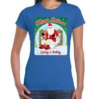 Bellatio Fout kerst t-shirt merry shitmas turkey blauw voor dames