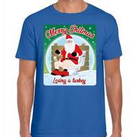 Bellatio Fout kerst t-shirt merry shitmas turkey blauw voor heren