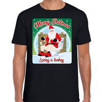 Bellatio Fout kerst t-shirt merry shitmas turkey zwart voor heren