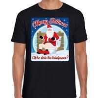 Bellatio Fout kerst t-shirt merry shitmas toiletpaper zwart voor heren