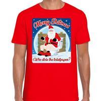 Bellatio Fout kerst t-shirt merry shitmas toiletpaper rood voor heren