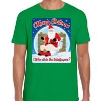 Bellatio Fout kerst t-shirt merry shitmas toiletpaper groen voor heren