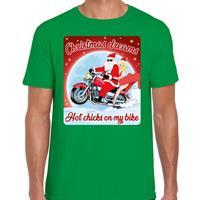 Bellatio Fout kerst t-shirt christmas dreams hot chicks groen voor heren