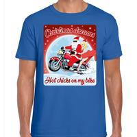 Bellatio Fout kerst t-shirt christmas dreams hot chicks blauw voor heren