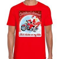 Bellatio Fout kerst t-shirt christmas dreams hot chicks rood voor heren