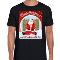 Bellatio Fout kerst t-shirt fuck christmas zwart voor heren