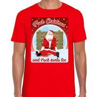Bellatio Fout kerst t-shirt fuck christmas rood voor heren