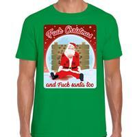 Bellatio Fout kerst t-shirt fuck christmas groen voor heren