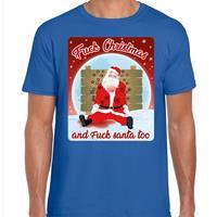 Bellatio Fout kerst t-shirt fuck christmas blauw voor heren