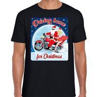 Bellatio Fout kerst t-shirt driving home for christmas zwart heren Zwart