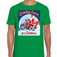 Bellatio Fout kerst t-shirt driving home for christmas groen heren Groen