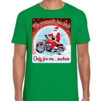 Bellatio Fout kerst t-shirt no presents for kids groen heren Groen