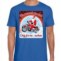 Bellatio Fout kerst t-shirt no presents for kids blauw heren Blauw