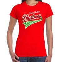 Bellatio Fout kerst t-shirt merry fucking Christmas rood voor dames