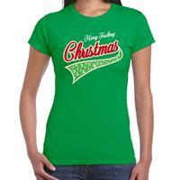 Bellatio Fout kerst t-shirt merry fucking Christmas groen voor dames