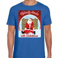 Bellatio Fout kerst t-shirt nobody fucks with sinterklaas blauw heren Blauw